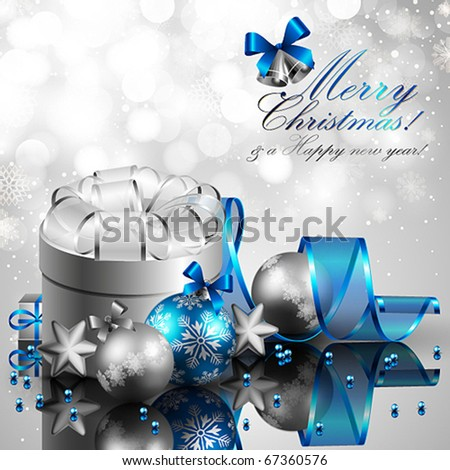 beautiful silver and blue christmas background - stock vector