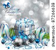 Beautiful silver and blue christmas background. Vector illustration. - stock photo