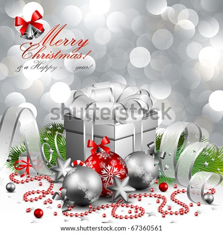 beautiful silver christmas background - stock vector