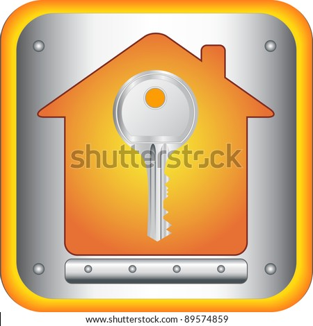 beautiful silver key on house silhouette background - stock vector