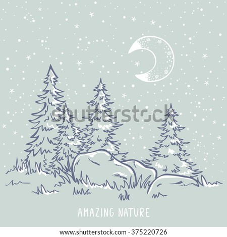 Beautiful sketch amazing trees at night with moon and stars. Stylish vector illustration - stock vector