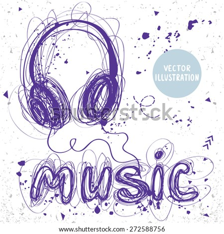 beautiful sketch doodle headphones and word music of sloppy lines - stock vector