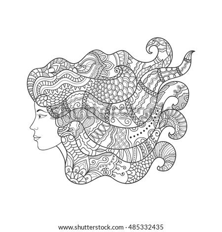 Beautiful Sketch Girl Long Hair Ornamental Stock Photo (Photo ...
