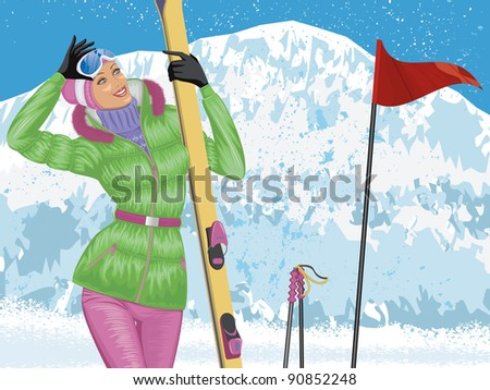 Beautiful skier with skis on top of snowy mountain - stock vector
