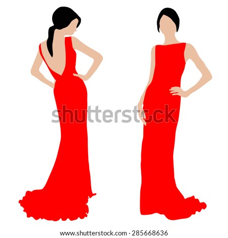 Beautiful slender fashion woman in red dress on white background (view from the back and front view). Vector illustration - stock vector