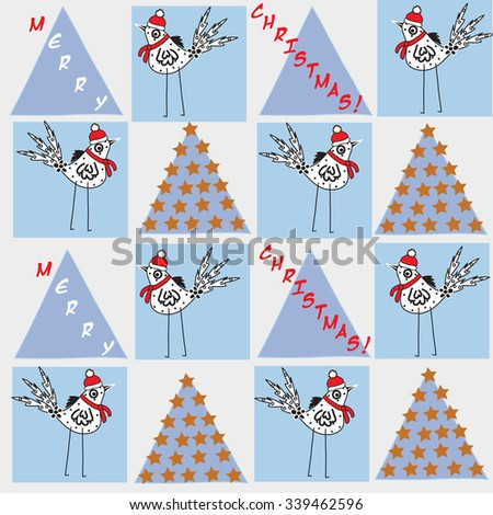beautiful small bird in a red cap and scarf with Merry Christmas inscription and stars vector illustration - stock vector