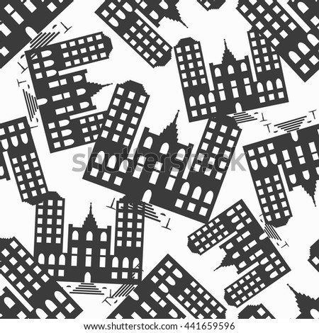 beautiful small house monochrome abstract seamless pattern - stock vector