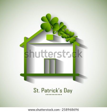 Beautiful small hut decorated with lucky shamrock leaves for Happy St. Patrick's Day celebration. - stock vector
