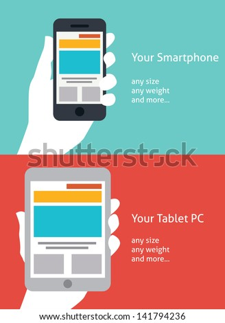 Beautiful Smartphone and Tablet flat icon design - stock vector