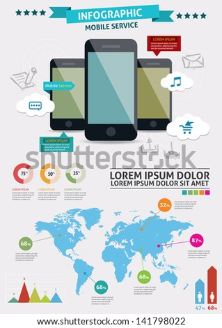 Beautiful Smartphone Infographic. Modern infographics set and icons IT tehnology. - stock vector