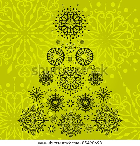 Beautiful snowflake christmas tree - stock vector