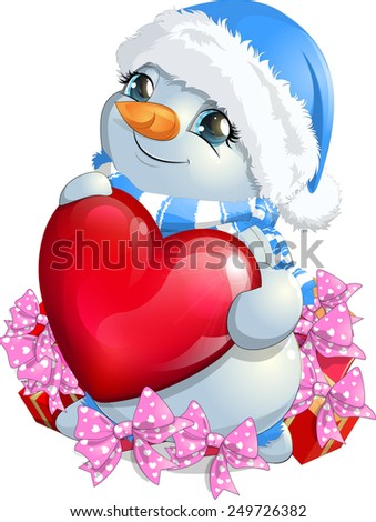 beautiful snowman holding heart standing in the gifts - stock vector