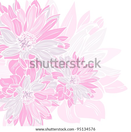 Beautiful soft background of pink flowers, hand-painted - stock vector