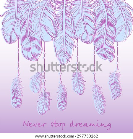 Beautiful Soft Feathers Hang Beads Text Stock Vector ...