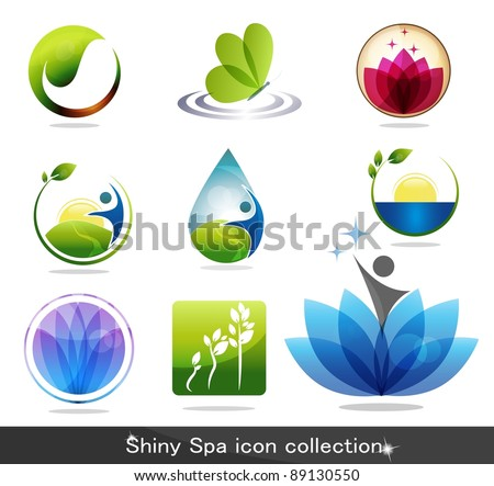 Beautiful spa icon collection - stock vector