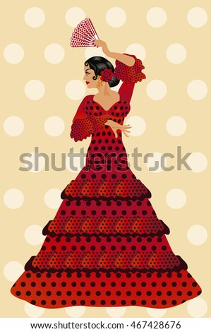 Beautiful spanish flamenco girl with a fan, vector illustration