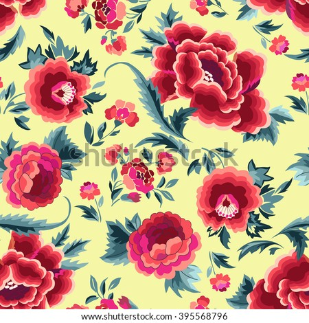 Beautiful Spanish floral print ~ seamless background - stock vector