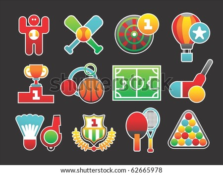 beautiful sports icons - stock vector
