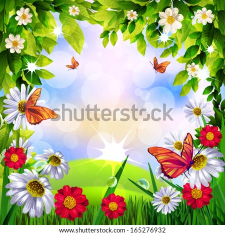 Beautiful Spring Background - stock vector