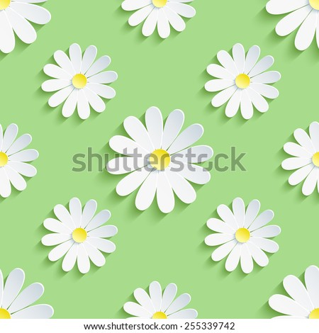 Beautiful spring background seamless pattern green with white 3d flower chamomile. Floral trendy creative wallpaper. Vector illustration - stock vector