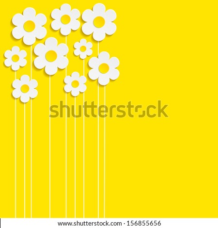 Beautiful Spring Flowers yellow Background -Vector - stock vector