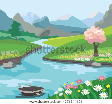 Beautiful spring landscape (vector illustration) - stock vector