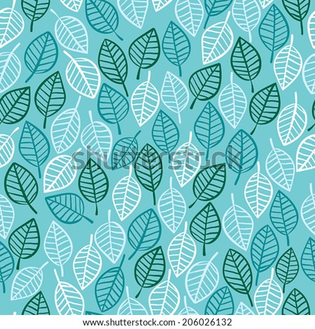 Beautiful spring leaves seamless pattern, hand drawn vector background.