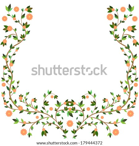 Beautiful spring-style frame composed of twigs, leaves and delicate flowers - stock vector