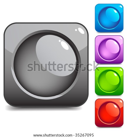 Beautiful square button - stock vector