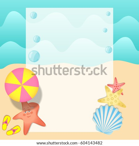 Beautiful Square Pattern For Summer Poster Or Flyer With Sunbathing Starfish And Seashell On The Background