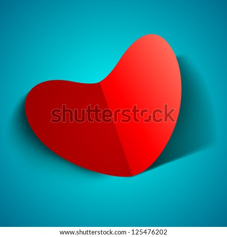 Beautiful St. Valentine's Day background, gift or greeting card with red fold paper heart and on blue background. EPS 10.