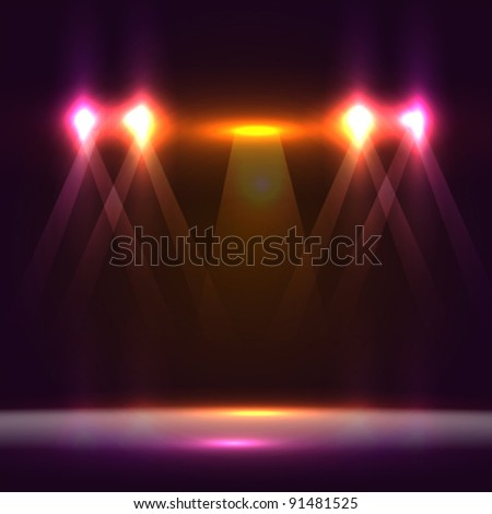 beautiful stage lighting. Vector illustration