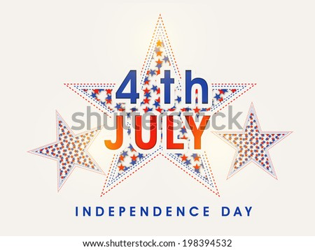 Beautiful stars and stylish text 4th of July on brown background for 4th of July, American Independence Day celebrations. - stock vector