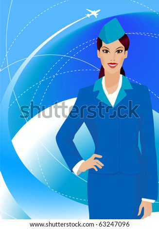 Beautiful stewardess in uniform. - stock vector
