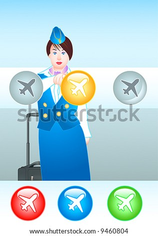 beautiful stewardess pointing at the right plane (you can choose the colors too) - stock vector