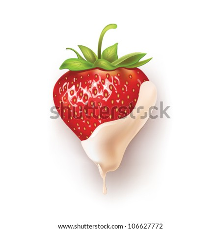 beautiful strawberries in white chocolate. vector illustration of a realistic - stock vector