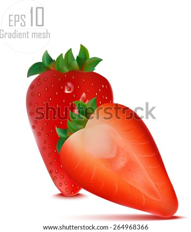 beautiful strawberries. vector illustration of a realistic. done gradient mesh. eps 10 - stock vector