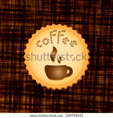 Beautiful stylish dark background with coffee cup on cookie. Vector illustration. Menu for restaurant, cafe, bar, coffeehouse. - stock vector