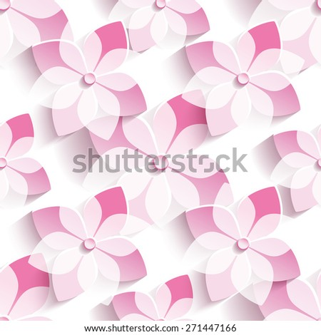 Beautiful stylish modern seamless pattern with 3d pink sakura blossom, japanese cherry tree. Floral trendy seamless background. Spring wallpaper with stylized flowers over white. Vector illustration - stock vector