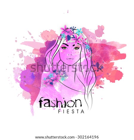 Beautiful stylish young girl decorated by colorful flowers with color splash for Fashion Fiesta. - stock vector