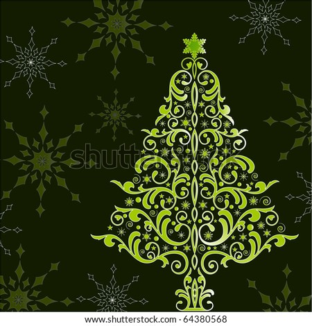 beautiful stylized christmas tree - stock vector