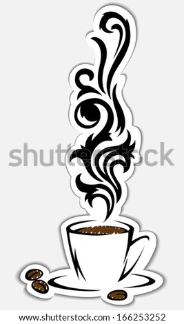 beautiful stylized cup of smoking coffee