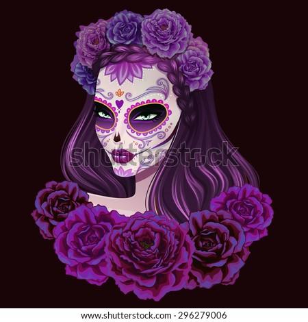 Beautiful sugar skull woman illustration. Day of dead vector illustration. - stock vector