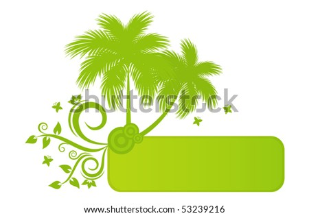 Beautiful summer banner with palm trees, floral element, butterflies and space for Your text - stock vector