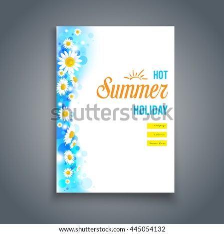 Beautiful summer blank with flowers. Nature template for design banner,ticket, leaflet, card, poster and so on. - stock vector