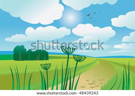 Beautiful summer day - stock vector