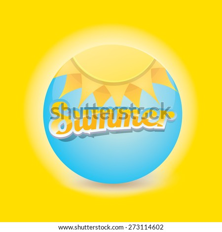 beautiful summer illustrations . vector summer label on orange background. summer icon with sun.  summer poster template - stock vector