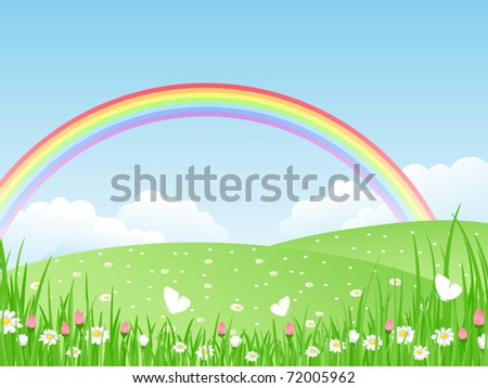 Beautiful summer landscape with rainbow. Vector illustration.