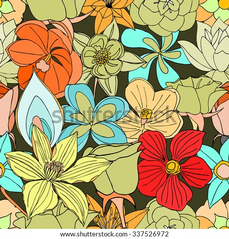 Beautiful summer ornate from many flowers, seamless pattern. Vector illustration, drawn doodle