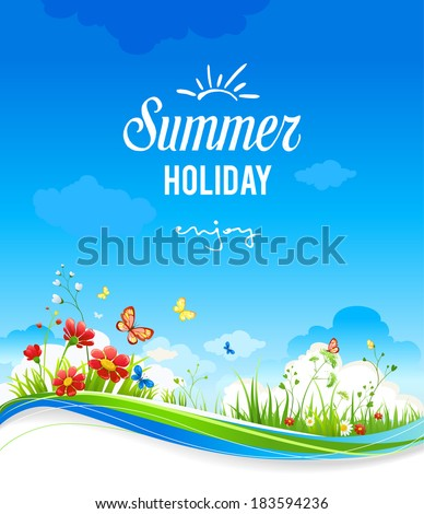 Beautiful summer scenery with flowers and butterflies. With place for text. - stock vector